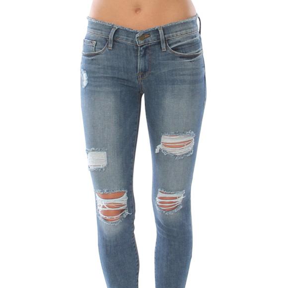 Frame Denim Denim - Frame Denim Le Skinny de Jeanne distressed jeans 64d64463f